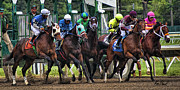 Horse Racing Posters Framed Prints - Out of the Gate Framed Print by Ron Pearl