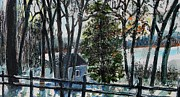 Concord Massachusetts Painting Prints - Out of the Woods at Walden Pond Print by Rita Brown