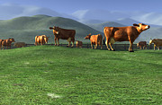 Cattle Digital Art Posters - Out to Pasture Poster by Cynthia Decker