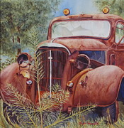 Rusty Truck Paintings - Out to Pasture by Daydre Hamilton
