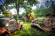 Old Fords Prints - Out To Pasture Friends Print by Debra and Dave Vanderlaan