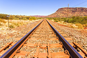 Outback Photos - Outback Railway Track and Mount Nameless by Colin and Linda McKie