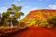 Eucalyptus Posters - Outback Road Australia Poster by Colin and Linda McKie
