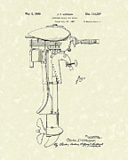 Morgan Drawings Posters - Outboard Motor 1939 Patent Art Poster by Prior Art Design