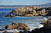 Susan Wiedmann Metal Prints - Outcroppings at Monterey Bay Metal Print by Susan Wiedmann
