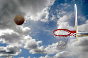 Basket Ball Game Prints - Outdoor Basketball Shot Print by Lane Erickson