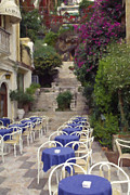 Outdoor Cafes Posters - Outdoor Cafe in Taomina Sicily Poster by Tad Gage