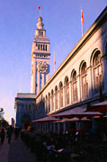 Old City Tower Posters - Outdoor Dining at San Franciscos Ferry Building at The Embarcadero - 5D20837 Poster by Wingsdomain Art and Photography