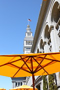 Clocks Framed Prints - Outdoor Dining At the San Francisco Ferry Building 5D25378 Framed Print by Wingsdomain Art and Photography
