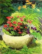Outdoor Still Life Paintings - Outdoor Flower Pot  by Nicolas Bouteneff