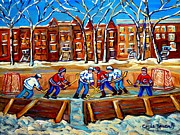 Hockey Rinks Paintings - Outdoor Hockey Rink Winter Landscape Canadian Art Montreal Scenes Carole Spandau by Carole Spandau