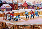 Hockey Players Paintings - Outdoor Rink Hockey Game In The Village Hockey Art Canadian Landscape Scenes Carole Spandau by Carole Spandau