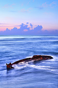 Sunken Boat Prints - Outer Banks - Beached Boat Final Sunrise II Print by Dan Carmichael