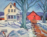Snow Scene Paintings - Outgoing mail at The Farm by Sylvina Rollins