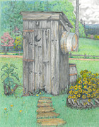 Print Pastels Posters - Outhouse Poster by David Gallagher