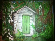 Outhouses Framed Prints - Outhouse Greenery Framed Print by Ginger Bear