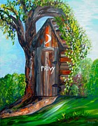 Commode Posters - Outhouse - Privy - The Old Out House Poster by Eloise Schneider