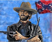 Clint Eastwood Art Paintings - Outlaw Josey Wales - Clint Eastwood by Peter Nowell