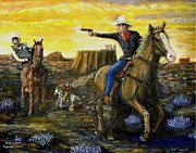Police Art Painting Posters - Outlaw trail Poster by Larry E Lamb