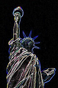 Lady Liberty Mixed Media Prints - Outline of Liberty Print by Anthony Dalton