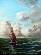 Wooden Ship Painting Prints - Outrunning The Storm Print by Lee Piper