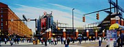 Baseball Stadiums Painting Framed Prints - Outside Camden Yards Framed Print by Thomas  Kolendra