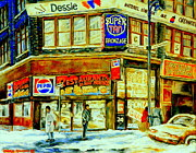 Restaurant Signs Paintings - Outside La Belle Province Hamburger Pizza Deli  Cold Winter Walk Rue St. Catherine Montreal Scene  by Carole Spandau