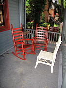 Rocking Chairs Framed Prints - Outside the Bookstore Framed Print by Frank Romeo