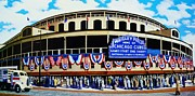 Baseball Stadiums Framed Prints - Outside Wrigley Field Framed Print by Thomas  Kolendra