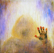Glass Wall Digital Art - Outsider series - Burning Hand by Lilia D