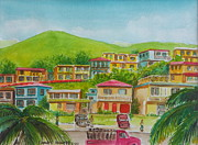 Puerto Rico Painting Metal Prints - Outskirts of Aguadilla Puerto Rico Metal Print by Frank Hunter