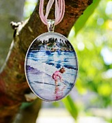 Watercolor Jewelry Originals - Oval Glass Art Pendant of Little Girl Playing with Stick in Tide by Maureen Dean