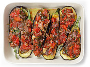 Parsley Prints - Oven ready stuffed aubergines Print by Paul Cowan