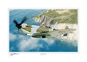 B-25 Bomber Prints - Over Dover Print by Larry McManus