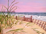 Surfer Girl Paintings - Over The Dunes To The Garden City Pier  by Heather  Gillmer