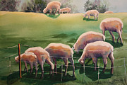 Flock Of Sheep Painting Posters - Over the Hill Poster by Roxanne Tobaison