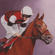 Jockey Paintings - Over The Line by Jill Parry