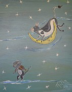 Cat And Moon Paintings - Over the Moon in Love with You by Tricia Concienne