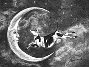 Cows Drawings Posters - Over The Moon Poster by J Ferwerda
