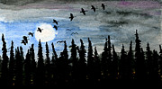 Canadian Geese Mixed Media - Over the Moon by R Kyllo