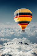 Hot Air Balloon Digital Art Prints - Over the mountain Print by Okan YILMAZ