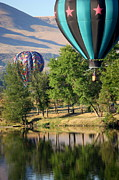 Prosser Balloon Rally Prints - Over the Trees and into the River Print by Carol Groenen