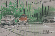 Parking Drawings - Overcast by Donald Maier
