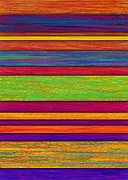Colored Pencil Abstract Framed Prints - Overlay Stripes Framed Print by David K Small