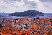 Red Roofs Posters - Overlooking Dubrovnik Poster by Madeline Ellis