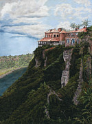 Republic Pastels Prints - Overlooking the Chavon River Print by Angela Bruskotter
