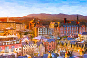 Old World Europe Posters - Overlooking The Grassmarket In Beautiful Edinburgh Poster by Mark E Tisdale