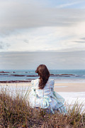 Woman Waiting Prints - Overlooking The Sea Print by Joana Kruse