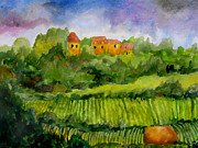 Pastoral Vineyard Painting Prints - Overlooking the Vines Print by James Huntley