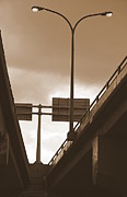 Overpass Framed Prints - Overpass in Sepia Framed Print by Valentino Visentini
